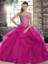 Deluxe Brush Train Ball Gowns Sweet 16 Dresses Fuchsia Off The Shoulder Tulle Sleeveless Lace Up