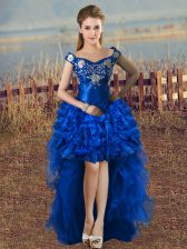 Royal Blue Off The Shoulder Neckline Embroidery and Ruffles Prom Party Dress Sleeveless Lace Up