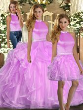 Floor Length Lace Up Sweet 16 Dresses Lilac for Sweet 16 and Quinceanera with Beading and Ruffles