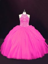 Floor Length Lace Up Quinceanera Dress Hot Pink for Sweet 16 and Quinceanera with Beading