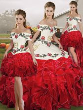 Embroidery and Ruffles Quinceanera Gown White And Red Lace Up Sleeveless Floor Length