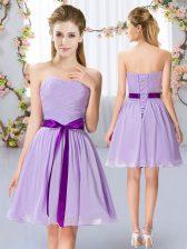 Low Price Lavender Lace Up Dama Dress Belt Sleeveless Mini Length