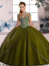 Sweetheart Cap Sleeves Brush Train Lace Up Quinceanera Dresses Olive Green Organza