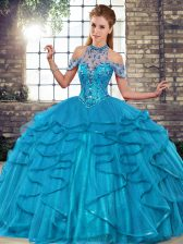Blue Sleeveless Beading and Ruffles Floor Length 15 Quinceanera Dress