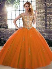 Sleeveless Floor Length Beading Lace Up Quinceanera Gown with Orange Red