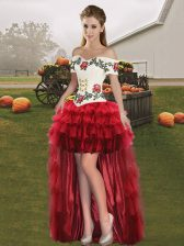 Wine Red Sleeveless High Low Embroidery and Ruffled Layers Lace Up Prom Party Dress