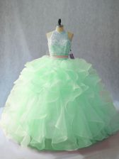Romantic Apple Green Organza Backless Quince Ball Gowns Sleeveless Brush Train Beading and Ruffles