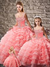 Custom Designed Watermelon Red Ball Gowns Beading and Ruffled Layers Sweet 16 Quinceanera Dress Lace Up Organza Sleeveless