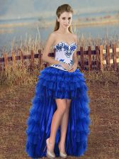 Royal Blue Sweetheart Neckline Embroidery and Ruffled Layers Prom Party Dress Sleeveless Lace Up
