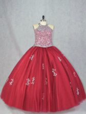 Fitting Floor Length Ball Gowns Sleeveless Red Sweet 16 Quinceanera Dress Lace Up