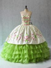 Fantastic Green Sweetheart Neckline Ruffled Layers 15 Quinceanera Dress Sleeveless Lace Up