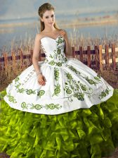 Olive Green Sleeveless Satin and Organza Lace Up Quince Ball Gowns for Sweet 16 and Quinceanera