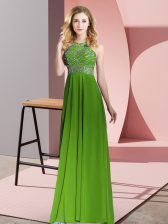 Edgy Green Dress for Prom Prom and Party with Beading Scoop Sleeveless Backless