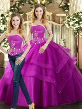 Modern Strapless Sleeveless Tulle Sweet 16 Dress Beading and Ruffles Lace Up