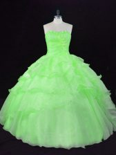 Artistic Ball Gowns Beading and Ruffles Ball Gown Prom Dress Lace Up Organza Sleeveless Floor Length