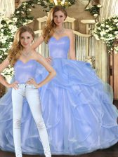 Fine Lavender Sleeveless Ruffles Floor Length Quinceanera Dresses