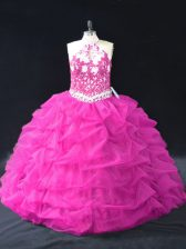 Inexpensive Fuchsia Sleeveless Organza Backless Quinceanera Gowns for Sweet 16 and Quinceanera