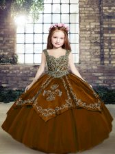 Sleeveless Tulle Floor Length Lace Up Little Girls Pageant Dress in Brown with Beading and Embroidery