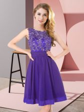 Mini Length Purple Quinceanera Court of Honor Dress Chiffon Sleeveless Beading and Appliques
