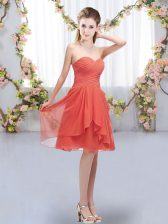 Knee Length Lace Up Damas Dress Coral Red for Wedding Party with Ruffles and Ruching