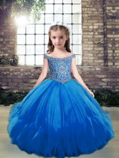 Blue Sleeveless Tulle Lace Up Girls Pageant Dresses for Party and Wedding Party