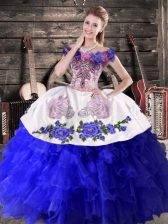Smart Floor Length Royal Blue Quinceanera Gown Off The Shoulder Sleeveless Lace Up