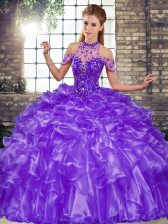 Gorgeous Floor Length Ball Gowns Sleeveless Purple Quinceanera Gown Lace Up