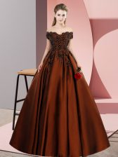 Decent Brown A-line Lace and Appliques Sweet 16 Dresses Zipper Satin Sleeveless Floor Length