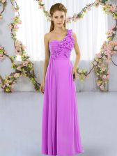 Exceptional Sleeveless Chiffon Floor Length Lace Up Dama Dress for Quinceanera in Lilac with Hand Made Flower