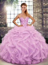 Beading and Ruffles Quinceanera Gowns Lilac Lace Up Sleeveless Floor Length