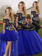 Royal Blue Off The Shoulder Lace Up Embroidery Quinceanera Dresses Sleeveless
