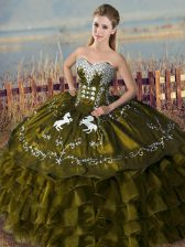 Floor Length Olive Green Quinceanera Gown Sweetheart Sleeveless Lace Up