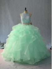 Apple Green Halter Top Backless Beading and Ruffles Quince Ball Gowns Sleeveless