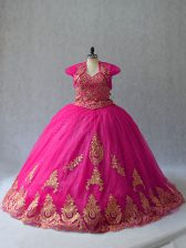Ideal Lace Up Quinceanera Gowns Hot Pink for Sweet 16 and Quinceanera with Appliques Court Train