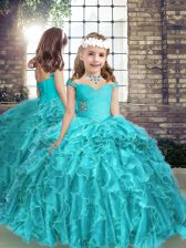 Trendy Straps Sleeveless Organza Kids Pageant Dress Beading and Ruffles Lace Up
