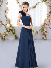 Affordable Navy Blue Empire Hand Made Flower Quinceanera Court of Honor Dress Lace Up Chiffon Sleeveless Floor Length