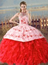 Organza Sleeveless Floor Length 15th Birthday Dress Court Train and Embroidery and Ruffles
