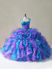 Popular Organza Sleeveless Floor Length Quinceanera Dress and Beading and Ruffles