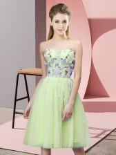 Colorful Sweetheart Sleeveless Dama Dress Knee Length Appliques Yellow Green Tulle