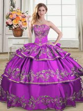 Traditional Ball Gowns 15 Quinceanera Dress Purple Sweetheart Organza Sleeveless Floor Length Lace Up