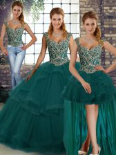 Peacock Green Tulle Lace Up Straps Sleeveless Floor Length Sweet 16 Quinceanera Dress Beading and Ruffles