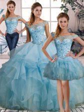 Floor Length Light Blue Quince Ball Gowns Organza Sleeveless Beading and Ruffles