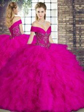 Fashion Fuchsia 15th Birthday Dress Military Ball and Sweet 16 and Quinceanera with Beading and Ruffles Off The Shoulder Sleeveless Lace Up