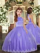 Lavender Little Girls Pageant Dress Party and Sweet 16 and Wedding Party with Appliques High-neck Sleeveless Backless
