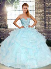Sweetheart Sleeveless 15 Quinceanera Dress Floor Length Beading and Ruffles Light Blue Tulle