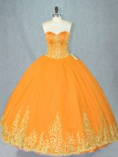 Gold Sleeveless Floor Length Beading Lace Up Sweet 16 Dress