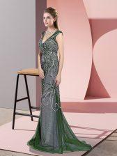 Shining Green Mermaid V-neck Sleeveless Tulle Sweep Train Zipper Beading Homecoming Dress
