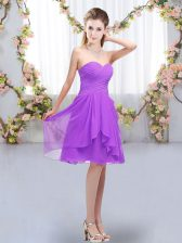 Lavender Sleeveless Knee Length Ruffles and Ruching Lace Up Quinceanera Court Dresses