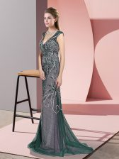 Sleeveless Beading Zipper Prom Party Dress with Peacock Green Sweep Train