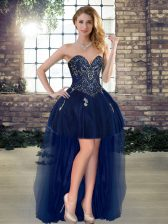 Sleeveless High Low Beading Lace Up Prom Dress with Navy Blue